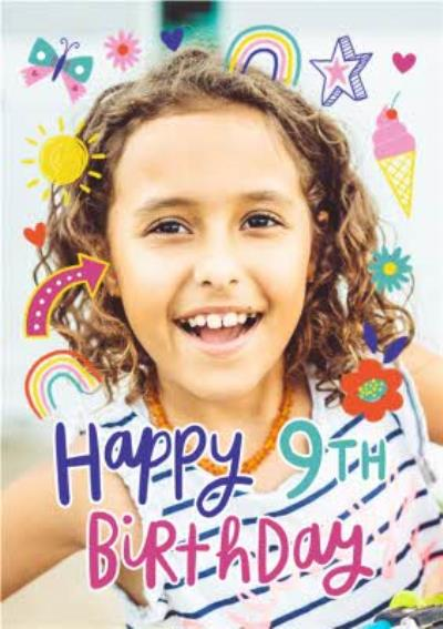 Fun Modern Rainbows and Ice Cream Photo Upload 9th Birthday Card