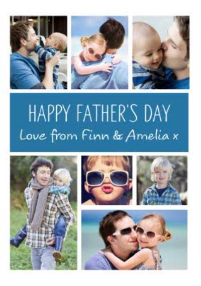 Blue Vertical And Horizontal Grid Photo Upload Happy Father's Day Card
