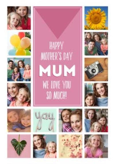 Multi Photo Grid Pattern Personalised Mother's Day Card