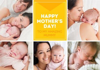 Bright Yellow Multi Photo Happy Mother's Day Card