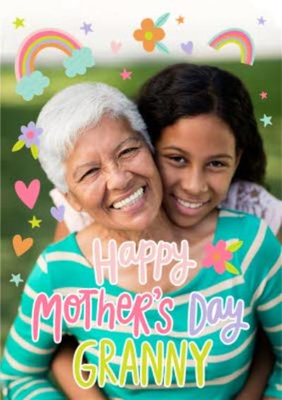 Happy Mothers Day Granny Rainbow Floral Heart Photo Upload Mothers Day Card
