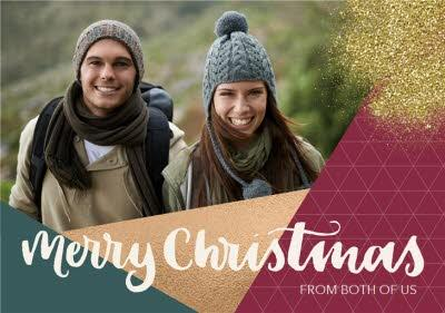 From Both Of Us Geometric Sparkles Photo Upload Christmas Card