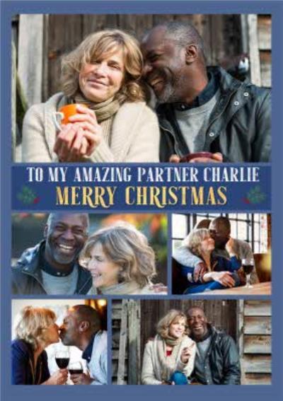 Multiple Photo Upload Christmas Card For Partner