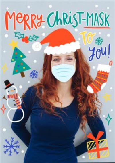 Merry Christmask Covid Pandemic Face Mask Christmas Photo Upload Card