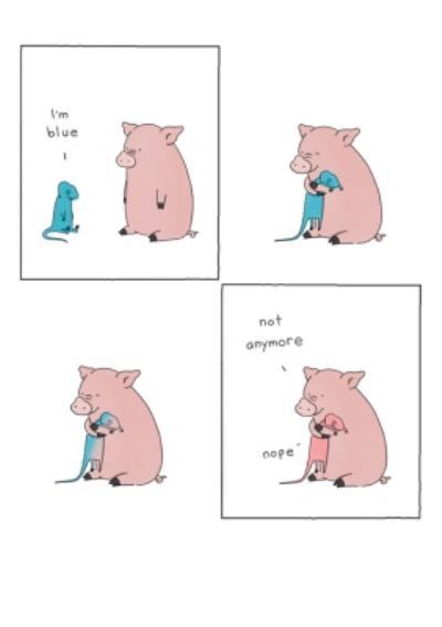 Modern Cute Illustration Pig And Chameleon Feeling Blue Big Hug Thinking Of You Card
