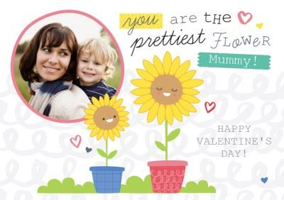 You Are The Prettiest Flower Personalised Photo Upload Happy Valentine's Day Card For Mum