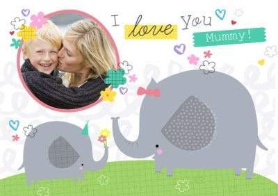 Mother's Day Card - I Love You Mummy - Photo Upload - Elephant
