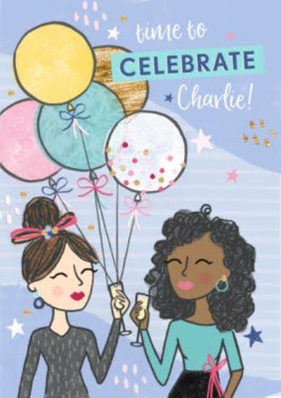 Celebration Birthday Ballons Party Themed Birthday Card