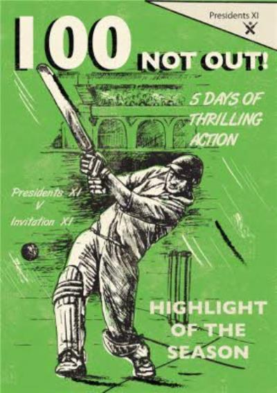 100 Not Out Cricket Card