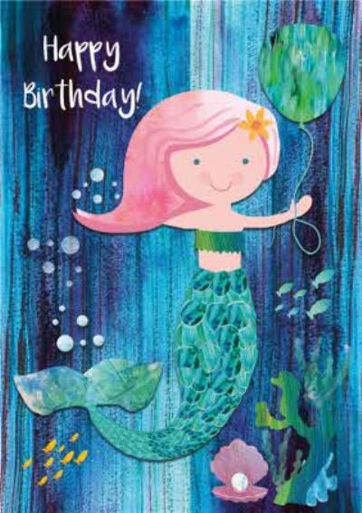 Cute Mermaid Birthday Card