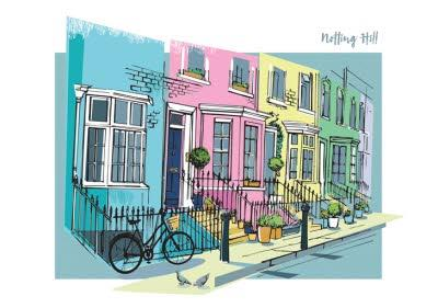 London Landmark Notting Hill Birthday Card