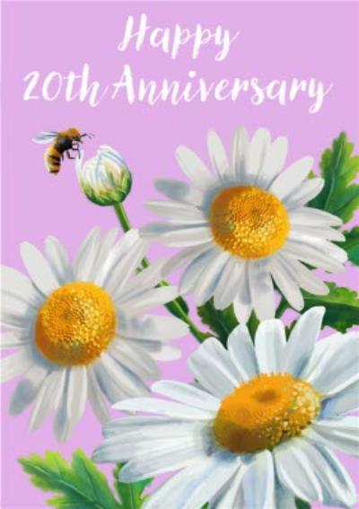 Floral Daisy Illustration Happy Anniversary Card