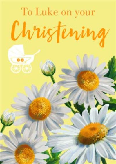 Blooming Sunflowers Illustration Personalised Christening Card