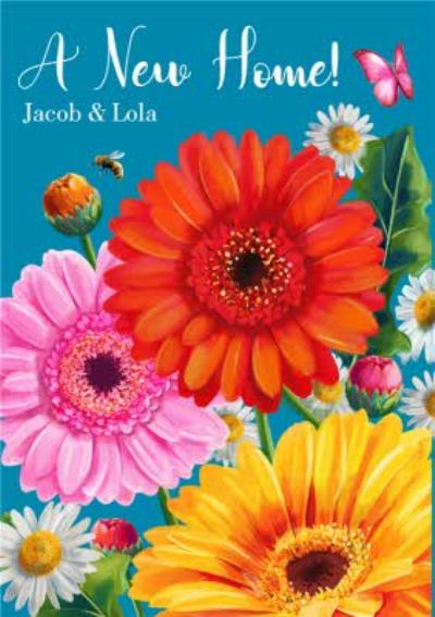 Colourful Illustrative Flower New Home Card