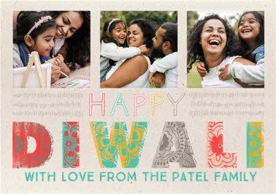 Big Colourful Letters Multi-Photo Happy Diwali Card