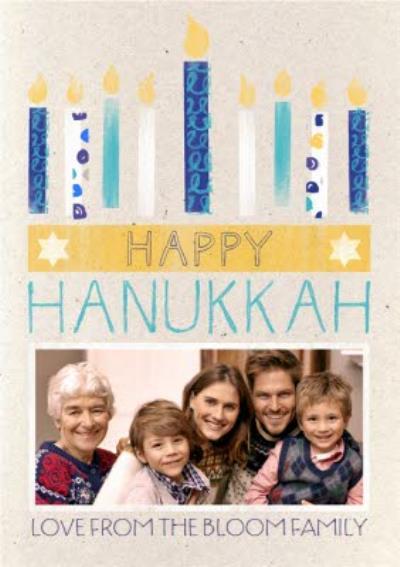 Lit Up Candles Personalised Photo Upload Happy Hanukkah Card