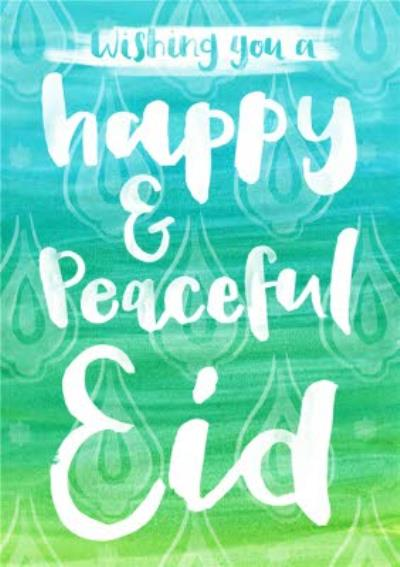 Green And Blue Wash Personalised Happy Eid Card