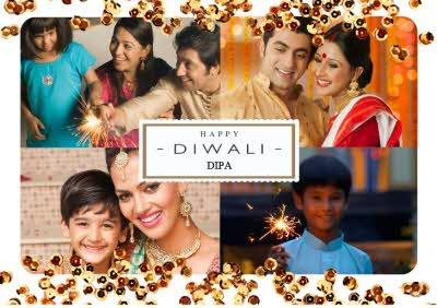 Gold Sprinkles Personalised Photo Upload Happy Diwali Card