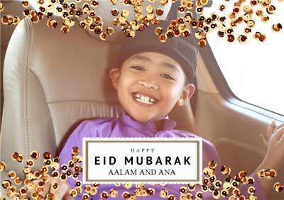 Gold Sequins Happy Eid Mubarak Photo Upload Card