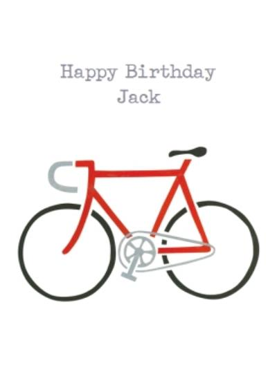 Red Bicycle Stencil Personalised Happy Birthday Card