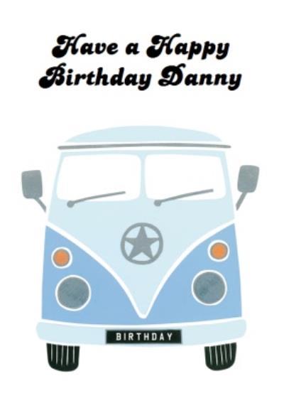 Campervan Personalised Happy Birthday Card