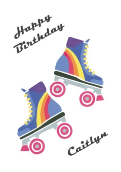 Neon Roller Skates Personalised Happy Birthday Card