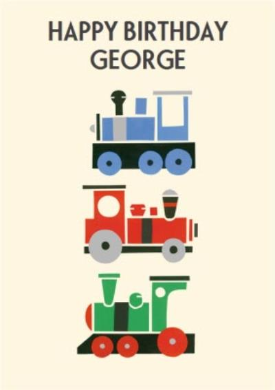 Colourful Trains Personalised Happy Birthday Card