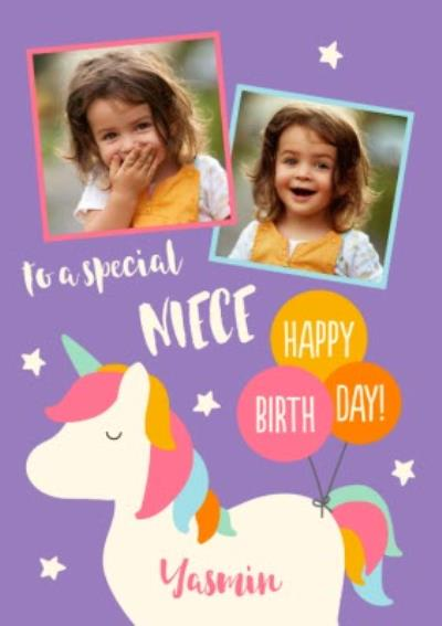 Unicorn To A Special Niece Happy Birthday Photo Upload Card