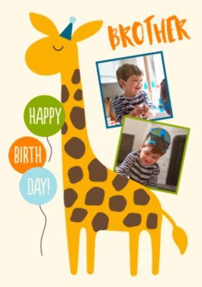 Giraffe Brother Happy Birthday Photo Upload Card