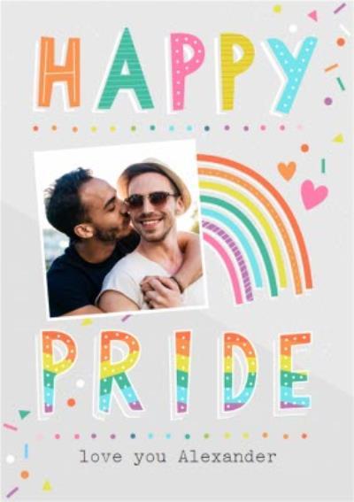 Typographic Happy Pride Photo Upload Card