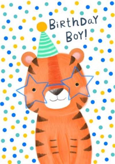 Cute And Colourful Tiger Birthday Boy Birthday Card