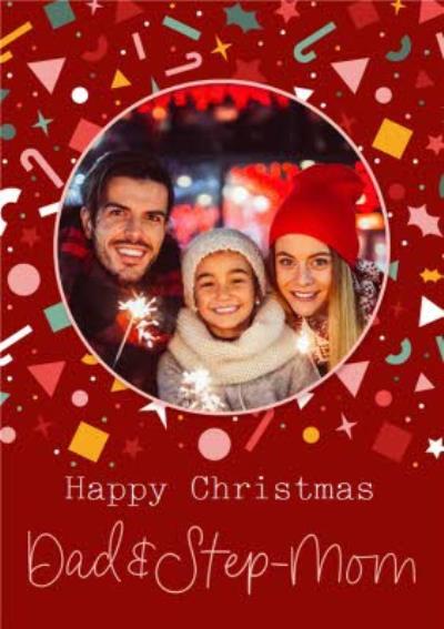 Modern Dad And Stepmum Photo Upload Christmas Card