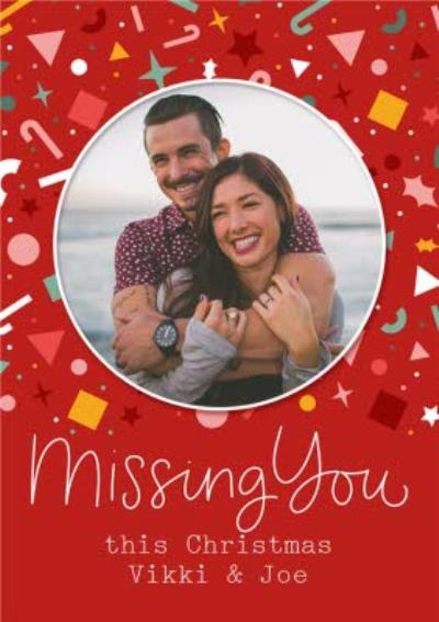 Modern Photo Upload Missing you Christmas Card