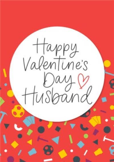 Bright Graphic Pattern Happy Valentine's Day Husband