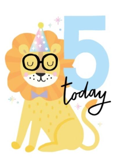 Five Today Tiger In Party Hat Card