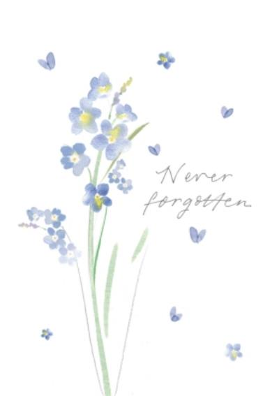 Floral Illustration Never Forgotten Sympathy Card