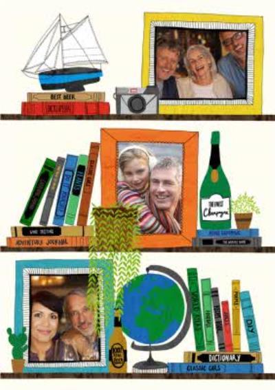 Bookshelf And Plants Photo Upload Card