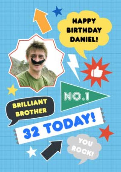Personalised Number One Happy Birthday Brother Card