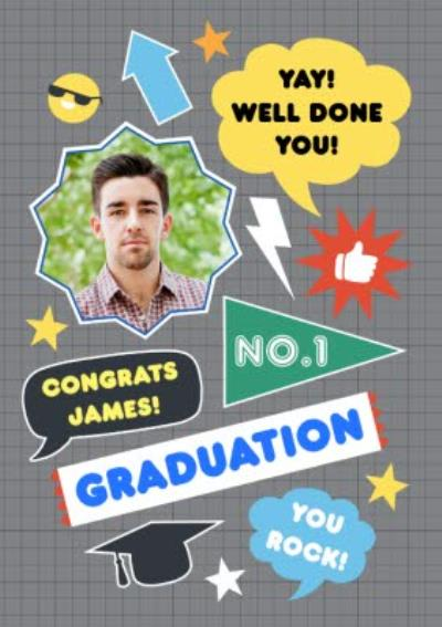 Colourful Icons Personalised Graduation Congrats Card