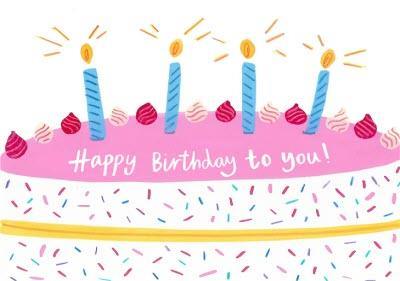 Happy Birthday To You Birthday Cake Candles Birthday Card