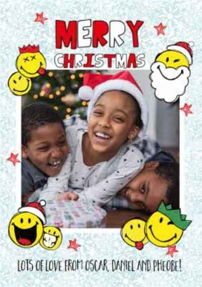 Smiley World Merry Christmas From the Kids Photo Upload Christmas Card