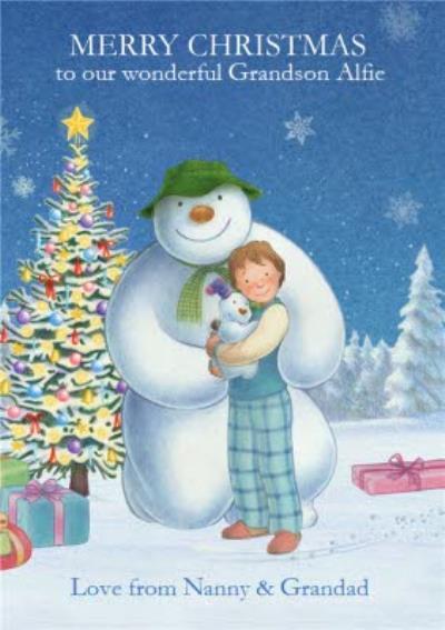 The Snowman Wonderful Grandson Personalised Christmas Greeting Card