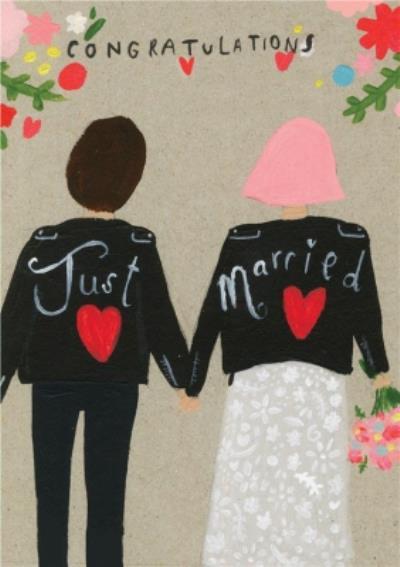 Cute Congratulations Just Married Wedding Card