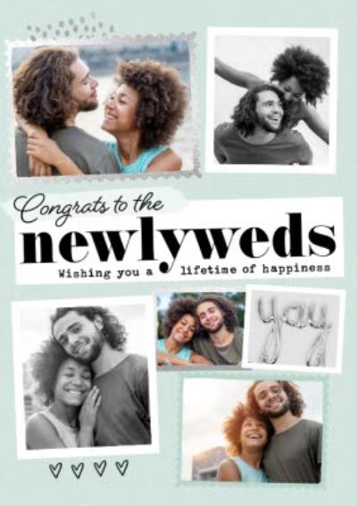 Congrats To The Newly Weds Multiple Photo Upload Wedding Congratulations Card