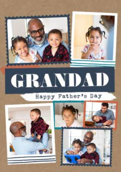 Modern Photo Upload Collage Grandad Father's Day Card