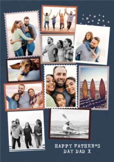 Modern Ten Photo Upload Collage Dad Father's Day Card