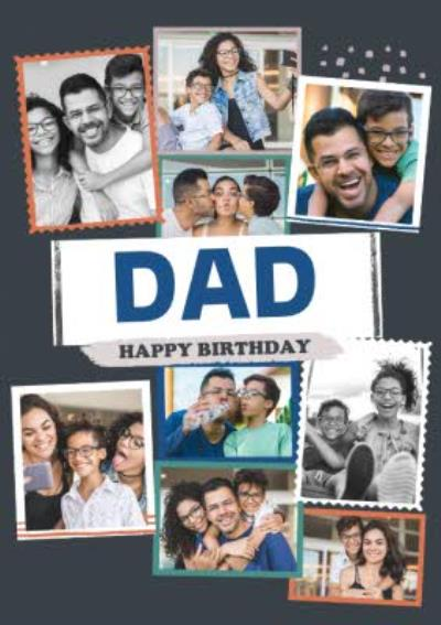 Modern Photo Upload Collage Happy Birthday Dad Card