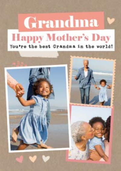 Modern Photo Upload Collage Grandma You Are The Best In The World Happy Mothers Day Card