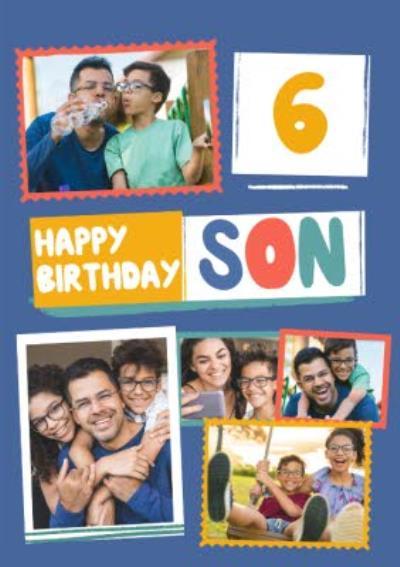 Modern Photo Upload Collage Son Happy Birthday Card