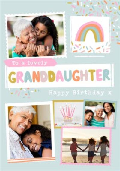 Modern Photo Upload Collage To A Lovely Granddaughter Birthday Card